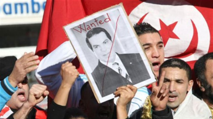 Manifestation Anti-Ben Ali en Tunisie, VOA News, 2011.
